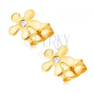 585 arany fülbevaló, ötszirmú csillogó virág átlátszó kövekkel
