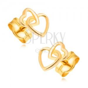 Arany fülbevaló 585 - összefonott csillogó szabályos szívkörvonalak