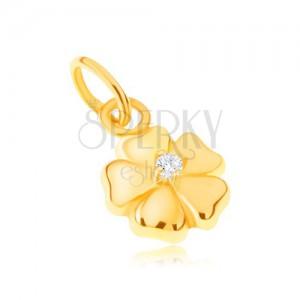 Medál 14K sárga aranyból - csillogó ötszirmú virág kővel
