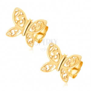 Fülbevaló 14K sárga aranyból - csillogó pillangók, filigrán díszítés