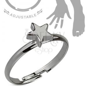 Gyűrű kézre vagy lábra, acélszürke, ötágú csillag