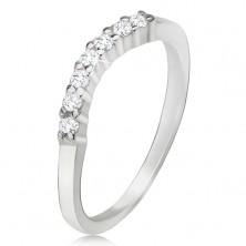 Gyűrű 925 ezüstből, átlátszó cirkóniás ív