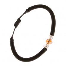 Kerek, nylon karkötő, fekete színben, csiszolt, narancs színű kő