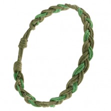 Fonott karkötő zsinórokból, a zöld két árnyalatában, fonat