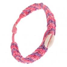 Karkötő rózsaszín, világosrózsaszín és lila színű zsinórokból, kagyló