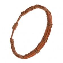 Dióbarna zsinóros karkötő, kramel és fahéjbarna bőr sáv