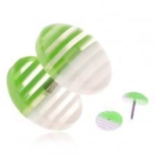 Fake plug akrylból, átlátszó kerekek, fehér és zöld sávokkal