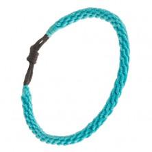 Akvamarin színű karkötő zsinórokból, spirál alakra fonva