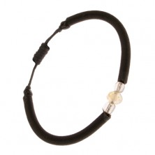 Nylon karkötő fekete színben, sárga, csiszolt kő, átlátszó gyöngyök