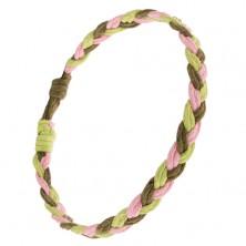 Karkötő - rózsaszín, világos és sötétzöld zsinórok, fonat