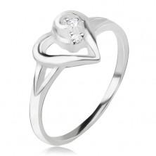Gyűrű 925 ezüstből, aszimetrikus szív körvonal, átlátszó kövek