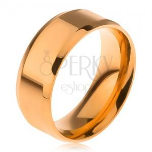 Fényes, arany színű gyűrű 316L acélból, lemetszett szélek
