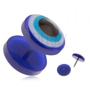 Kerek, akryl fake plug fülbe, kék szem