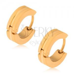 Acél fülbevaló arany színben, karikák szélesebb bemélyedéssel középen