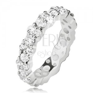 Átlátszó cirkóniás karikagyűrű 925 ezüstből, hullámos szélek