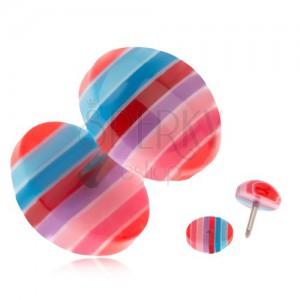 Hamis plug fülbe, akrylból - kék, piros és rózsaszín sávok
