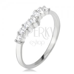 Gyűrű 925 ezüstből, átlátszó, cirkóniás csúcs, sima szárak