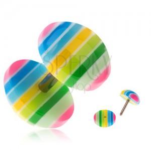 Akryl fake plug fülbe - sárga, zöld, kék és rózsaszín sávok