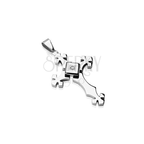 Acél medál ezüst színben - kereszt cirkóniával négyzetben