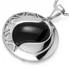 Fekete achát kővel díszített kör medál