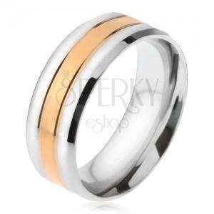 Acél gyűrű, egy aranyozott és két ezüst színű sáv, ferde szélek