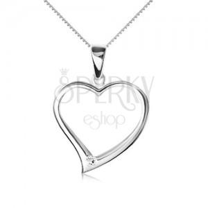 Nyaklánc 925 ezüstből - lánc, aszimetrikus szív kövonal, cirkónia