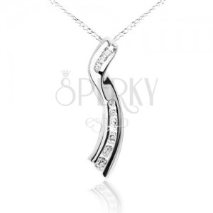 Fényes nyaklánc, lánc, tekert szalag, átlátszó cirkóniák, 925 ezüst