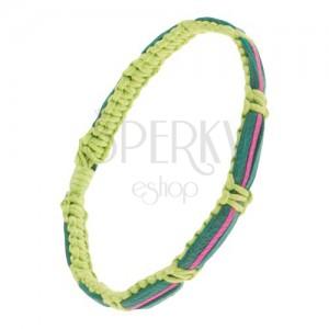 Világoszöld zsinórok karkötő, sötétzöld és fukszia színű bőrsávok