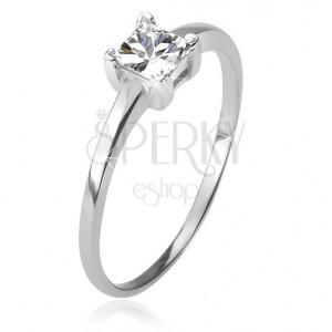Gyűrű 925 ezüstből, négyzetes, átlátszó kő foglalatban