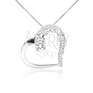 Csillogó nyaklánc, lánc, szív kontúr, átlátszó kövek, 925 ezüst