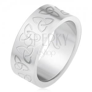 Acél gyűrű gravírozott kelta szimbólumokkal, Triquera