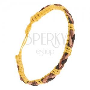 Sárga zsinóros karkötő, barna-fekete bőr sáv a felületén