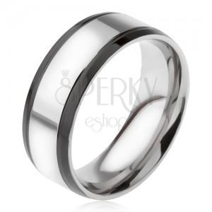 Gyűrű 316L acélból, ezüst színű fekete szélső sávokkal
