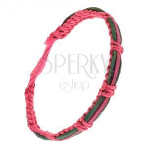 Karkötő - rózsaszín, zsinóros fonat, zöld és fukszia színű bőr sáv