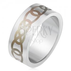 Matt acél gyűrű ezüst színben, szürke könnycsepp körvonal minta