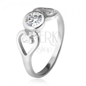 Gyűrű ezüstből, szív körvonal, átlátszó, kerek cirkónia foglalatban, 925 ezüst