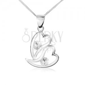 Nyaklánc 925 ezüstből, két, egyenetlen szív körvonal, átlátszó cirkóniák