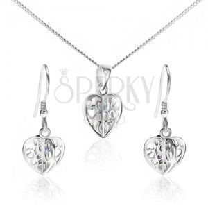 Szett 925 ezüstből - nyaklánc és fülbevaló, kivágott szívek