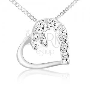Nyaklánc, lánc és szív körvonal sima és cirkóniás rész, 925 ezüst