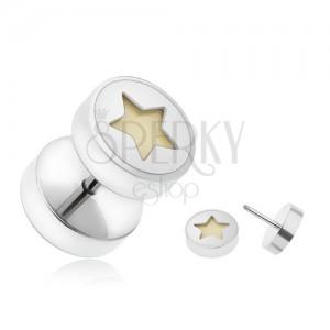 Hamis piercing fülbe acélból, sötétben világító ötágú csillag
