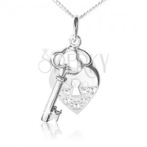 Nyaklánc 925 ezüstből, lánc, szív és kulcs alakú medál, átlátszó kövek