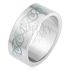 Acél gyűrű, matt, egyenes felület, minta tekert vonalakból