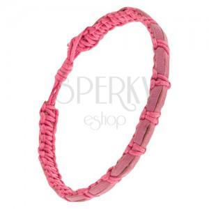 Rózsaszín zsinóros karkötő, két öregrózsaszínű bőrsáv