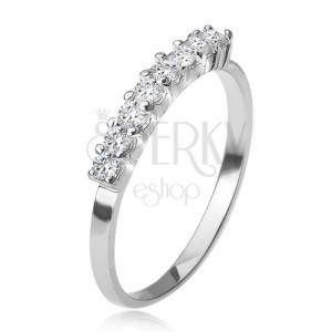 Gyűrű 925 ezüstből, foglalatos sáv átlátszó kövekkel