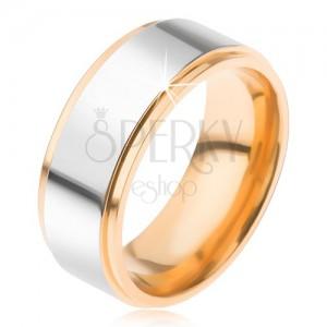 Titán gyűrű, fényes, ezüst színű sáv, süllyesztett aranyozott szélek