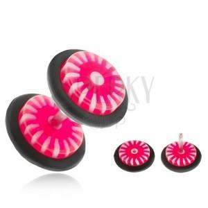 Fake plug fülbe - kerekek akrylból, rózsaszín-fehér napocska