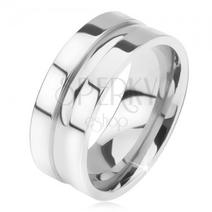 Fényes, acél gyűrű, egyenes felület, lekerekített, középső sáv