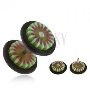 Akril fake plug fülbe, fehér és zöld színű virágszirmok