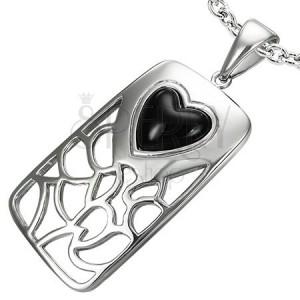 Acél medál - szív alakú fekete achát kő