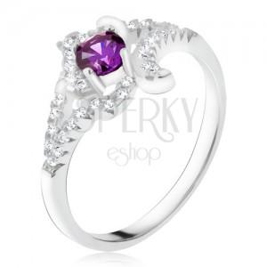 925 ezüst gyűrű, lila kő, tekert cirkóniás szárak